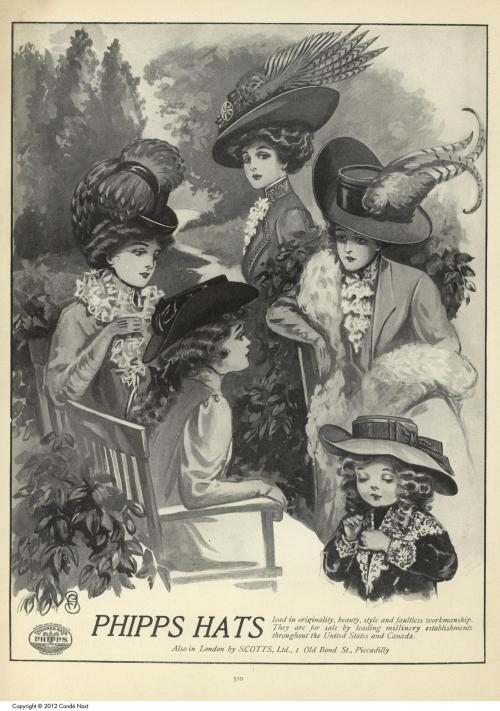 oldrags:  Vogue, October 8 1908  Hat Ad.