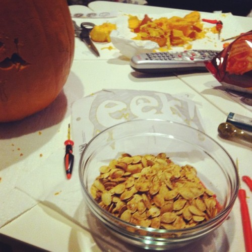 Savory pumpkin seeds #salt #pepper #montrealseasoning #halloween #october #pumpkin  (Taken with Instagram at Home)
