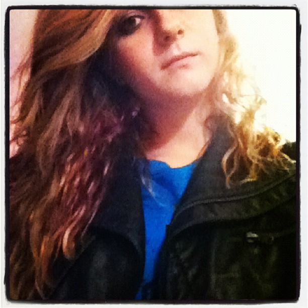 Crew necks and leather jackets. Hello fall. Off to panera. (Taken with Instagram)