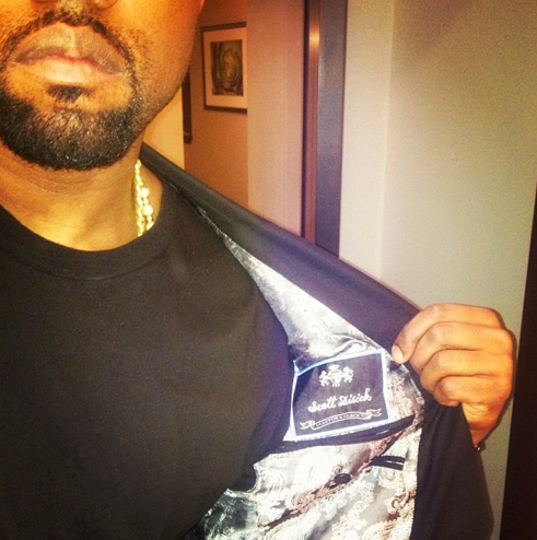 blasianandmaganda:  Kanye in a Get off my Scott Disick blazer by Scott Disick
