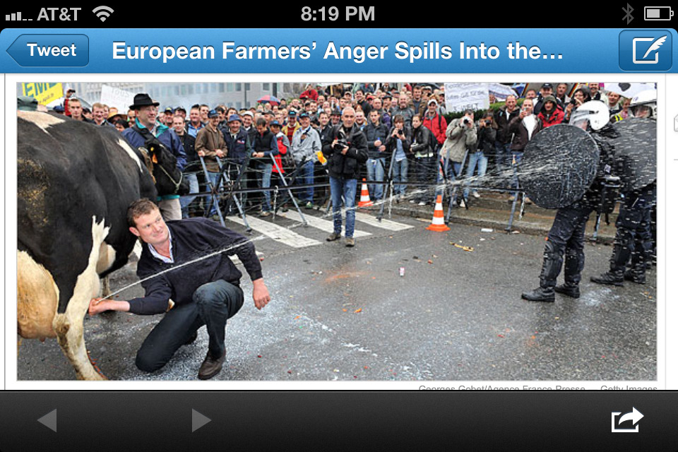 When farmers protest they don't mess around.  Via the New York Times: http://www.nytimes.com/2009/10/06/business/global/06milk.html?_r=0