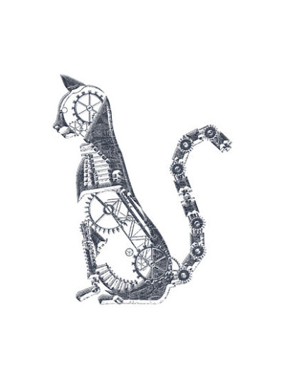 """Steampunk Silver Cat"" by Angelaook 