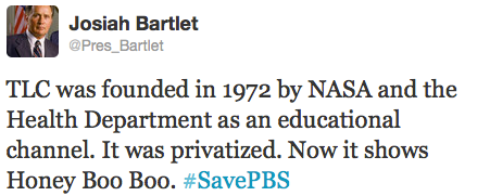 Just a little bit incoherent don't ya think? What does #SavePBS have to do with NASA & the Health Department founding TLC? (Hint: Absolutely nothing!) Instead let's #SaveCriticalThinking