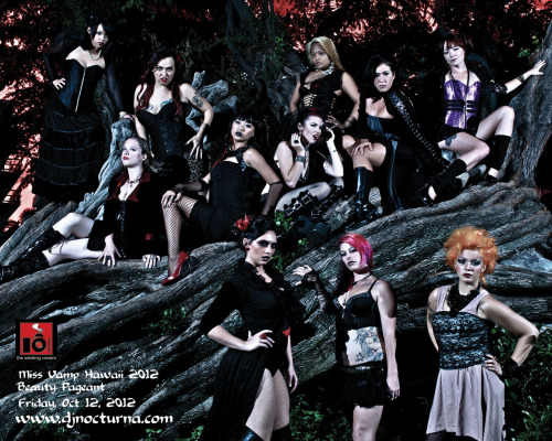 "DJ Nocturna submitted this photo with the comment:  ""The 3rd Annual MISS VAMP HAWAII 2012 Beauty Pageant will take place on Friday, October 12, 2012 at the historic Hawaii Theatre. 15 beautiful vampires will grace the stage with their talents, Q&A, Moon bathing competition and more. Who would ever think you would find vampires in Hawaii, or as Nick Cave might say the other place ""where the sun shines"" and let alone a vampire beauty pageant in Hawaii.""  That's a whole lot of Hawaiian goth ladies up one (albeit dead) tree. 8 in total. 8!  And then there's the 3 supporting cast members who are just hanging out, looking supportive and a bit annoyed.  I have complete respect for goths who live in warmer climes.  It takes a lot of dedication to maintain gothic composure while you're sweating torrents underneath your corset and your eyeshadow creases as soon as you put it on. I'm confused by the concept of a vampire beauty pageant (then again, I'm confused by the concept of a beauty pageant in general).  Does everyone put in fake fangs and answer questions important to vampires like 'how would you cure the world of anaemia?' or 'if you could eat one world leader who would it be and why?' or 'how much do you hate that sparkly whinger?'. This photo looks like it was taken at night time but there's a distinct air of photoshop about it and I can't tell if it's authentic or not.  Let's give them the benefit of the doubt.  Not one of them is smiling but I'm guessing vampire beauty pageant entrants never smile.  The 8 up the tree are quite high and there's a variety of poses and facial expressions, my favourite one being the girl who looks like she's just had her hair pulled by one of the other contestants.  I'm guessing it was the one directly behind her with the blonde hair as she's looking pretty triumphant. 5 out of 5 - Oh my goth!"