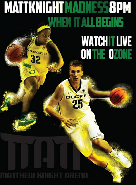 Oregon Ducks Pit Crew: Information on Matt Knight Madness on Friday On Friday October 12th at 8:00 PM, we will open up our basketball stadium for Matt Knight Madness. The event will be open to EVERYONE (free admission) and will occur immediately following the Oregon Women's Volleyball game vs. WSU at 6:00 PM. Both the volleyball game and Matt Knight Madness will be televised on the Pac-12 Network. For Students: This is the only way to get your official Pit Crew shirt for the 2012-2013 season! All fans are encouraged to attend game ($3 for general admission adults/$1 for children 12 and under, free for students) and the first 100 students at game get free pizza. For those interested in the rewards system (rewards.goducks.com ), everyone gets double rewards points for attendance to see the nation's No. 2 overall volleyball team, our Oregon Ducks. Fans will be able to get a first look at the 2012-13 Men's and Women's Basketball team and rosters. This will be a great opportunity to learn more about players, coaches and upcoming matches. All fans in attendance are eligible to win prizes including autographed balls, (some) Pit Crew Jordan's and Pit Crew Jackets.  The Oregon Ducks Pit Crew will be giving away some of the new gear including this season's t-shirt to the students in attendance. THIS WILL BE YOUR BEST OPPORTUNITY TO GET A BRAND NEW PIT CREW T-SHIRT. Past events at Matt Knight Madness for the Men's Basketball team include a short scrimmage and slam dunk contest.  TO REVIEW Who: Everyone (Students & Fans alike) What: Matt Knight Madness (including a t-shirt giveaway, a raffle for custom Pit Crew Air Jordan's and jackets, autographed basketballs, When: October 12th at 8:00 PM Where: Matt Knight Arena Why: To promote the volleyball team, the Men's Basketball team, the Women's Basketball team, the Oregon Ducks Pit Crew and the fandom of the University of Oregon. To view the promotion video, click here. For more information, click here and go to the Facebook event page to say that you're going!