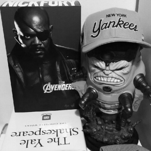 "M.O.D.O.K. & Nick Fury say, ""let's go @Yankees!""  (Taken with Instagram)"