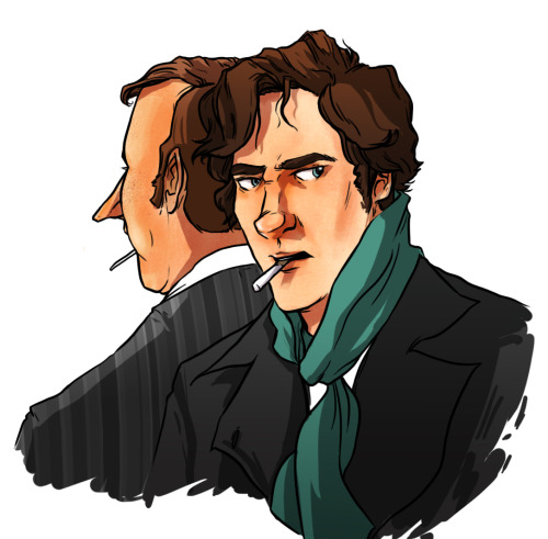 geniusboo:  Practicing new color methods! Holmes bros style!  Sherlock just asked Mycroft for a light only to discover that Mycroft has a lollipop not a cigarette.