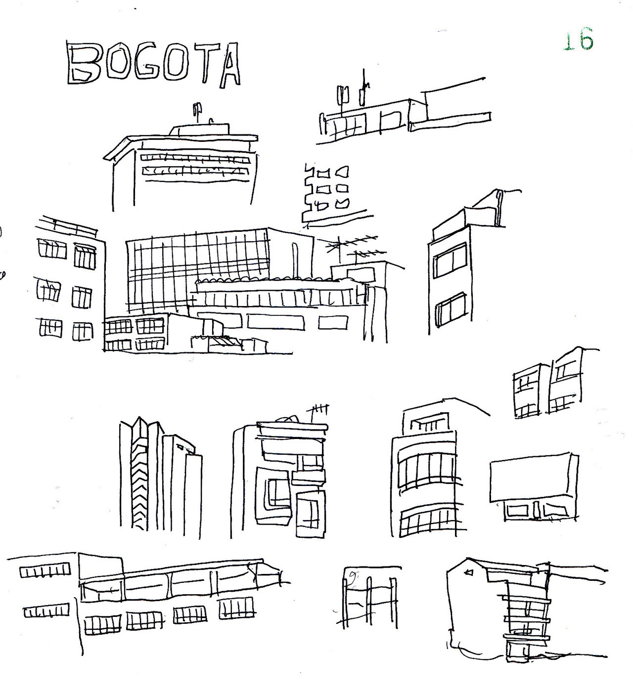 Bogotà drawings while riding the bus