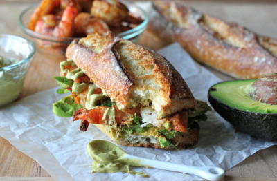Spicy Roasted Shrimp Sandwich with Chipotle Avocado Mayo with recipe (link)