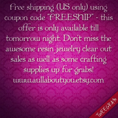 Free Shipping till tomorrow night ONLY! #aullaboutyou #etsy #couponcode #sale #coupon #freeshipping #resinjewelry #gifts #epoxyresin #accessories #clearoutsale #christmas #halloween #jewelry #handmade #supporthandmade #resin #glitter #craftsupplies #crafting (Taken with Instagram)