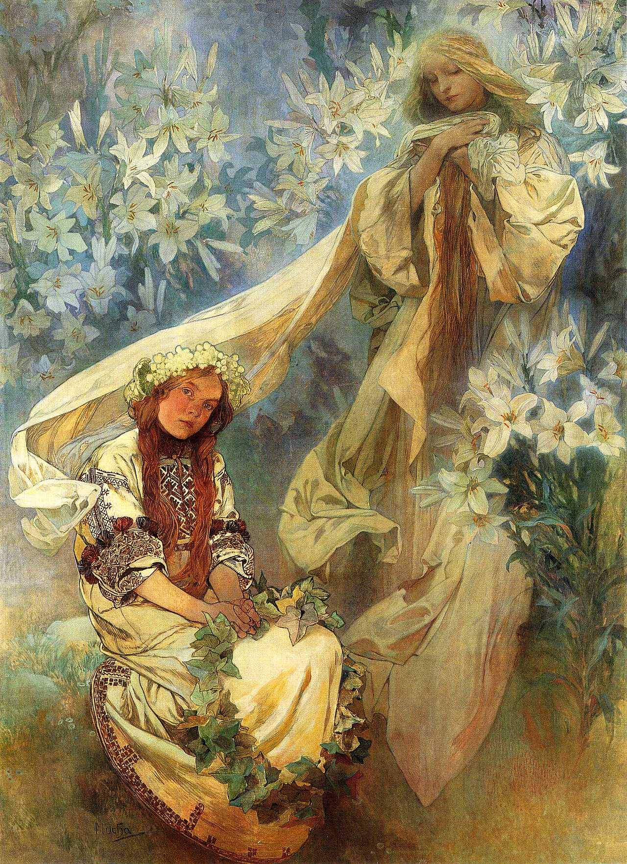 Madonna of the Lilies (1905) by Mucha