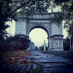 A Moist Fall Day In Brooklyn #Brooklyn #ParkSlope #GrandArmyPlaza #Drainage #Autumn #Fall #Leaves #AftertheRain #Trees  (Taken with Instagram at Grand Army Plaza Arch)