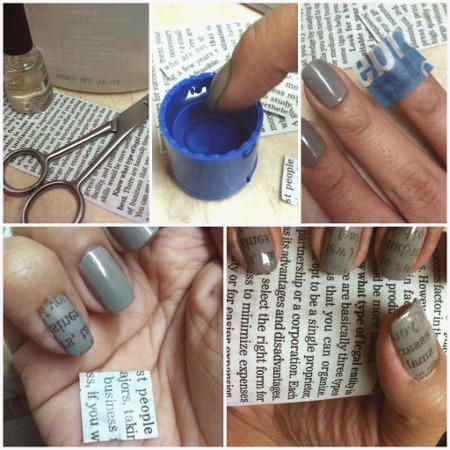 DIY Newspaper 'Letter Transfer' Nails. 1) Cut small piece of newspaper to fit your nail size. Choose the font and words you like! For mine, I chose a newspaper clipping of an article entitled 'How To Plan And Start A Business,' hahaha. Also, set aside alcohol and clear polish. Your nails must be painted with a base coat and/or a color much lighter than the newspaper ink. I painted on Revlon nail lacquer in Graceful, a nice concrete-gray shade. 2) Dip your nail on the alcohol for a few seconds, soak it completely. Use the bottle cap or any similar small container that can fit the tips of your fingers. 3) Immediately wrap your alcohol-soaked nail bed firmly with the paper; press it to your nail but keep it on its place so the transfer of ink wont smudge. 4) Carefully peel off the paper, and wait for it to completely dry. You'll see the imprint of the paper is actually a mirror image, but that make it cute, methinks! If you want to level up the newspaper nail art, try snipping out just little strips of words, place one word per nail, and you can create a sentence per hand (that's five words for five nails, so think creatively!) 5) Seal your nails with a top coat, then clean the edges with nail polish remover. Without the top coat, the newspaper ink will just smudge and fade, so this is important!  [It's been nearly a month since my last post! Sorry about that. Was quite busy with lots of things — work, watching musicals and concerts, some travel… Will post about these soon!]