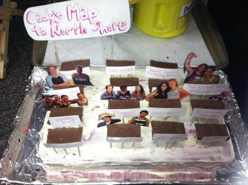 The Mean Girls cake I made for my friend Sam's birthday. All of the tables are accurately labeled according the map Janice drew for Cady with our friends placed around the tables. The tables are made of hersey's bar squares with toothpicks poked into the bottom. All the people and labels are paper covered in packing tape on both sides, cut out and then tapped to toothpicks. I used this recipe for the cake: http://www.foodnetwork.com/recipes/paula-deen/grandmother-pauls-red-velvet-cake-recipe/index.html but I baked it for a 13x9 pan and left in it the over for an extra 15 minutes. It turned out okay, but not the best. It's covered in cream cheese frosting.  Best Cake Ever?