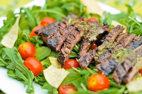 Skirt Steak Salad with Cilantro Lime Sauce with recipe (link)