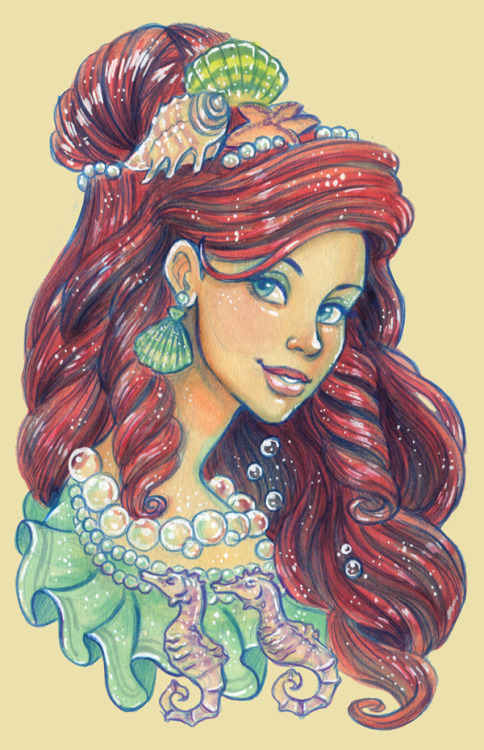 kirstendoodles:  New themed portrait finally! This time of Ariel. I figured since I did my favorite villain, I should do my favorite princess. Out of the princess I grew up with in the 90s, anyways- the new princesses like Tiana and Rapunzel and Merida don't count (because if they did, I wouldn't have a single favorite princess- I'd have four favorites!)With that said, to be completely honest, Ariel might just be my favorite princess because she's a mermaid. I actually wasn't terribly fond of the princess movies when I was growing up, I was more in the genre of Don Bluth animations. I find myself liking the Disney Princesses more now as an adult than I ever did as a kid. But even so, I always did like Ariel because I loved fantasy creatures, and well, Ariel's a mermaid. Ariel does have qualities as a heroine I do like and identify with (and did when I was little too)… and yet so many that I don't. But I won't start a whole feminist/anti-feminist debate about it because it doesn't really matter. She's still a lovely character with a great design, and I'll forever admire her for that at the least. Plus I love Glen Keanes drawings so I'm a little biased there, teehee.