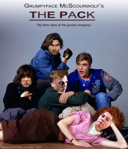 "sarahnikkidee:  Grumpyface McScourwolf's THE PACK ""My Mom does all the grocery shopping.""*Many thanks to Angie Bee a.k.a. 'zombres' for help on the title ;)"