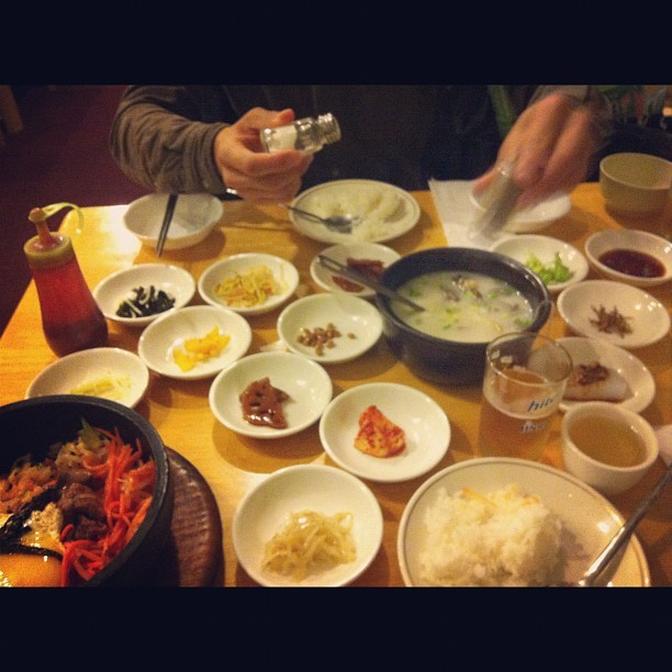 Korean FEAST. I was happy to find a place here with good seolleongtang. http://instagr.am/p/QgaG4VD1P5/