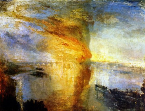 J. M. W. Turner, The Burning of the Houses of Lords and Commons, 16 October, 1834, 1835.  Oil on canvas, 92 x 123.2 cm, Cleveland Museum of Art.