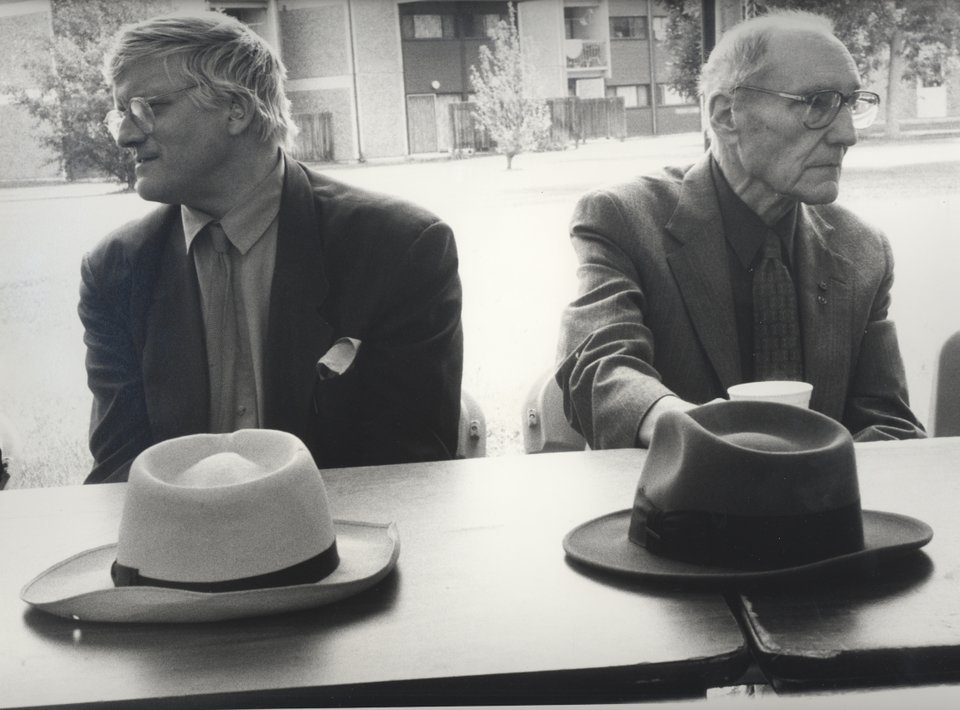 derrierelasalledebains:  William Burroughs with David Hockney. Naropa Institute, Boulder, Colorado
