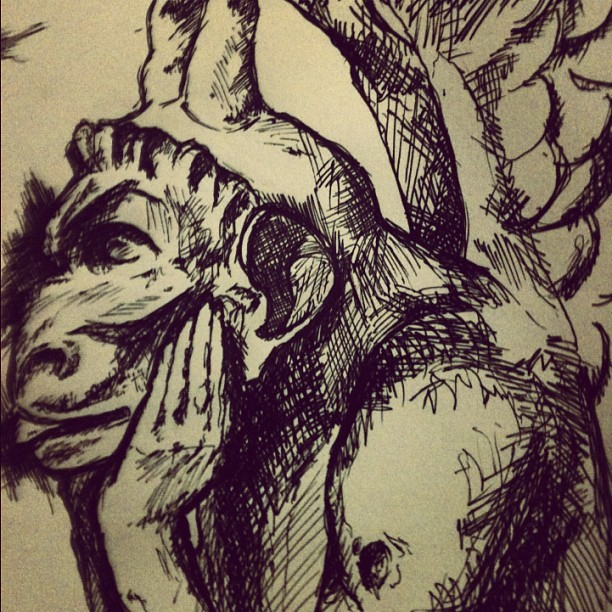 Gargoyle sketch #1 (Taken with Instagram)