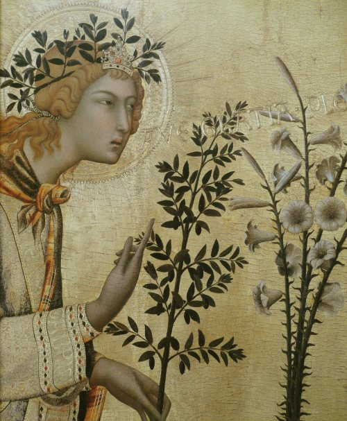 heaveninawildflower:  Annunciation (1333) by Simone Martini (1285–1344). Tempera on panel (detail of  larger picture) . Uffizi Gallery. Wikimedia.
