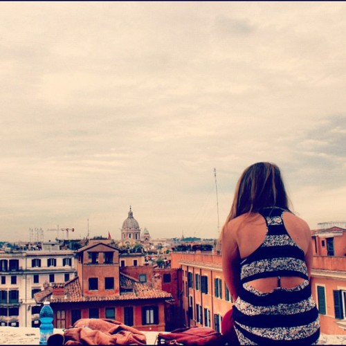 Looking over Roma at the top of the Spanish Steps (Taken with Instagram)