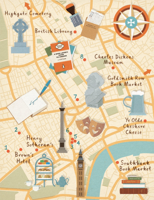 spiffing-books:  Homes & Antiques magazine to create a map highlighting book shops in London, as well as other cultural places of interest.  [zaraillustrates.com]