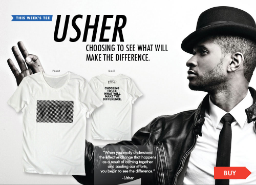 Check it out! Usher designed this awesome, exclusive 'vote' TEE. Love it. Hope you do too. You can see it here: www.ourtimetees.com