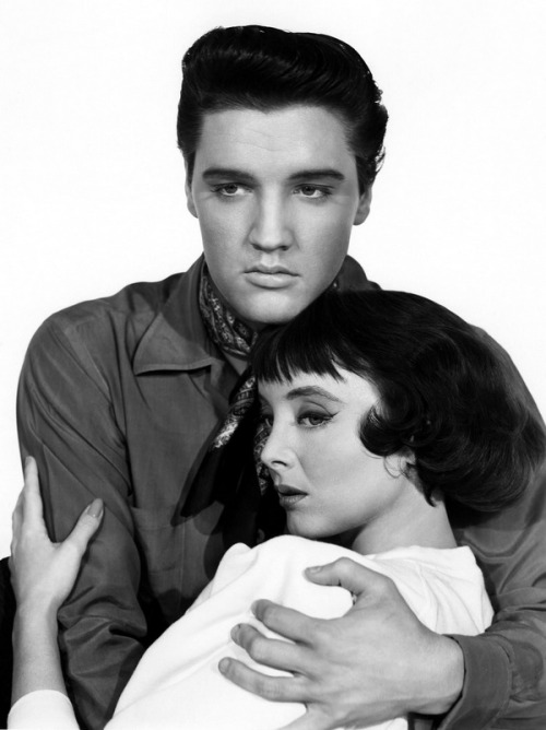 theniftyfifties:  Elvis Presley and Carolyn Jones publicity for 'King Creole', 1958.