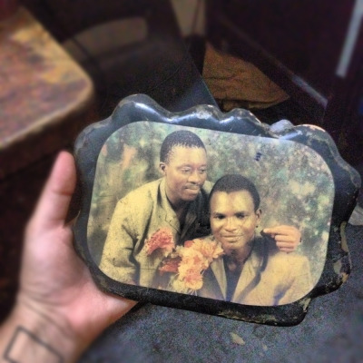 Back in the day, it was very popular to put photos on a piece of wood and cover them with lacquer. Photo of Uncle Taiwo, sometime in the late 1970s.   October 4
