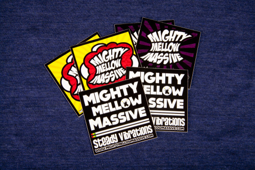 "Mighty Mellow Massive is mixing it up with 5 different full color vinyl sticker prints they did with us recently, a great way to offer your fans a wide selection. Product: Full Color Vinyl Stickers (5 sets)  Stock: Gloss Vinyl + UV Coating Finished Size: 3"" Square Inks: Full Color"