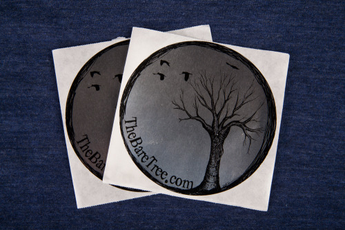 "Here's some silver foil roll label stickers for The Bare Tree, a clothing and accessory brand based in Wisconsin. Product: Silver Foil Roll Sticker  Stock: Silver Foil  Finished Size: 4"" Circle Inks: 1 Color"