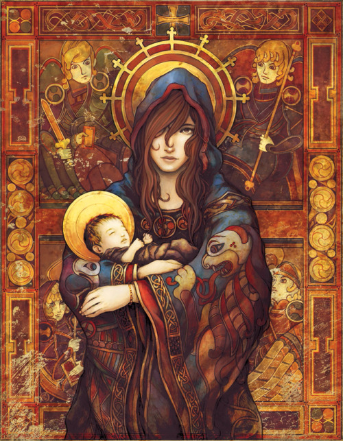 eusinelaughingalonewithsuicune:  :: Madonna and Child :: by ~ninebreaker  Presumably, if the Blessed Virgin is going to crush Satan, she's not only gentle, but also tough—like most saints.  She is, in other words, probably a bit more like this than we tend to realize.