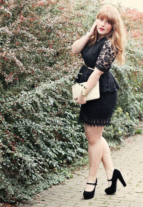 luckymag:  Lace on lace with a peplum. Obsessed.