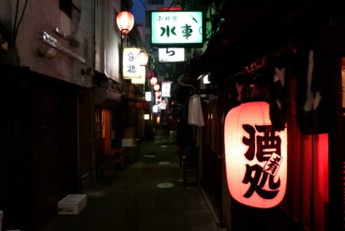On Location: Golden Gai  Golden Gai is an area in the Shinjuku neighborhood with narrow lanes and very small bars.  And small means small: some of them hold only a few people, and are more like private clubs.  Sometimes we literally had to let the clients pass us on their way to have a drink.  Such close quarters require a certain amount of flexibility, but when the shoot was over we didn't have to go far for a drink.