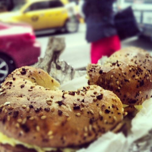 The last NY #bagel (on this trip…)  #NYCbday  #ILoveNY (Taken with Instagram at Cafe Bonjour & Pizza)