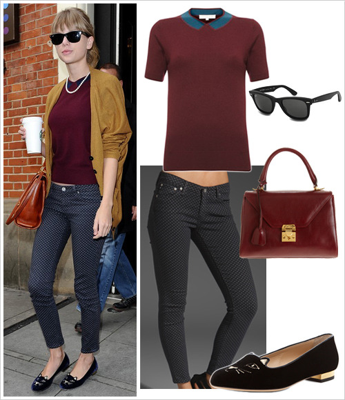 Taylor Swift was spotted in West London last Thursday wearing a French Connection 'Gina Geelong Peter' jumper ($128), AG Adriano Goldschmied ankle leggings in Pin Dot Black ($178), navy Charlotte Olympia 'Kitty' flats (black version, $595), black Ray-Ban original wayfarers ($150) and a Mark Cross 'Scottie' small satchel (dark red version, $1950)
