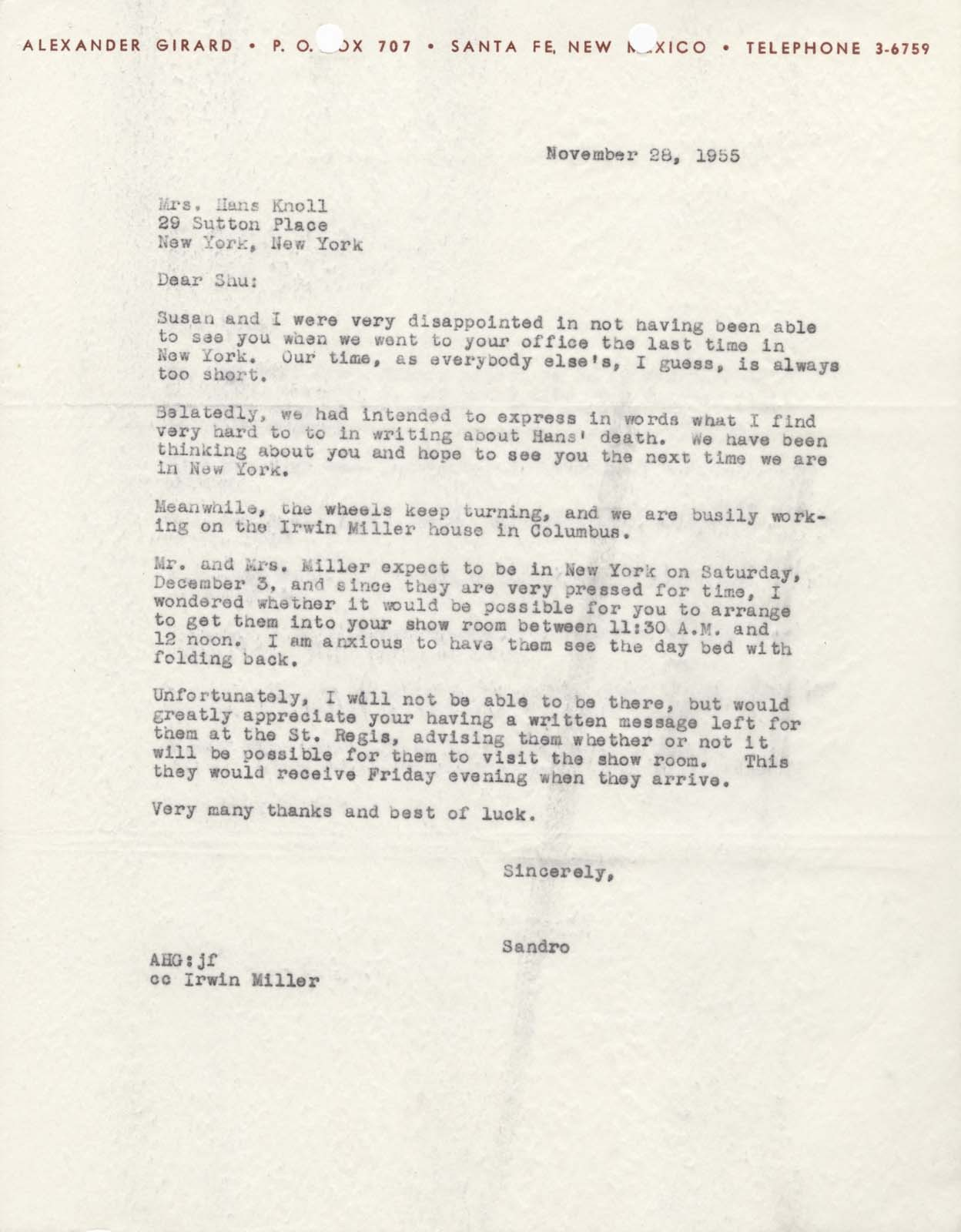 "On this day, Alexander Girard wrote to Florence Knoll (known as Shu by friends and colleagues) after the sudden death of Hans Knoll, her husband and business partner at Knoll Associates. Along with offering condolences, Girard also detailed an upcoming visit by J. Irwin and Xenia S. Miller to the Knoll showroom in New York City. Alexander Girard to Florence ""Shu"" Knoll, 28 November 1955, 1/1, Miller House and Garden Collection, IMA Archives, Indianapolis, Indiana. (MHG_Ia_B001_f001_010)"