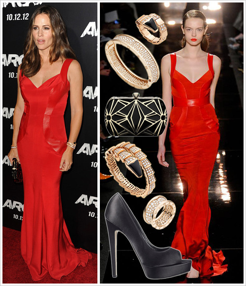 Jennifer Garner attended the 'Argo' LA premiere last Thursday wearing a Monique Lhuillier Fall 2012 gown, Brian Atwood 'Wagner' heels in Black Silk ($695), a Bulgari 'Serpenti' minaudiere and jewellery from the Bulgari Serpenti and B.Zero 1 collections