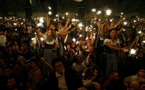 Munich, Germany: waitresses dance on tables in a beer tent on the final evening of the Oktoberfest beer festival Photograph: Matthias Schrader/AP