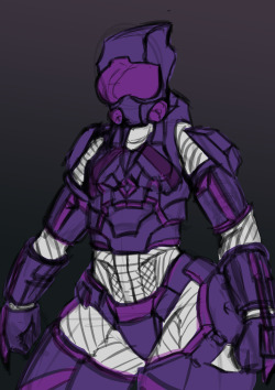An armored chick girl woman thing I'm drawing. Heavily Master Chief/ Halo inspired
