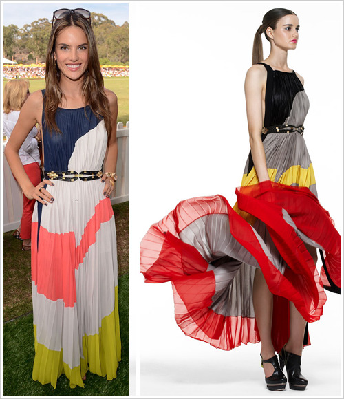 Alessandra Ambrosio attended the 2012 Veuve Clicquot Polo Classic at Will Rogers State Historic Park on Saturday in Pacific Palisades, California wearing a BCBGMaxAzria Pre-Fall 2011 dress ($275, U.P. $458)