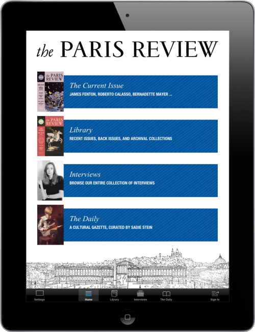 theparisreview:  As reported in The New York Times, we're thrilled to announce the launch of our iPad/iPhone app! On it you'll find new issues, rare back issues, and archival collections—along with our complete interview series and the Paris Review Daily. And if you download the app by October 21, you'll receive the current issue, along with an archival issue—Spring 1958, featuring an interview with Ernest Hemingway, early fiction by Philip Roth, and a portfolio by Alberto Giacometti—for free! Read more here.