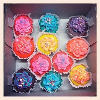 """Colorful mini cupcakes"""