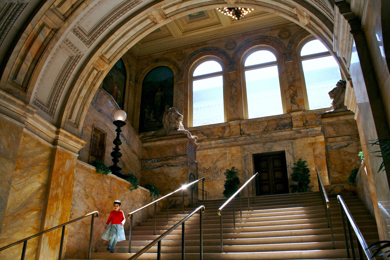 Boston Public Library.  Boston, MA. Whenever it start to get really brisk and the leaves are changing colors, I always think of fall semesters in Boston.  Those times were full of homework, and there was no better place to do it than the Boston Public Library.