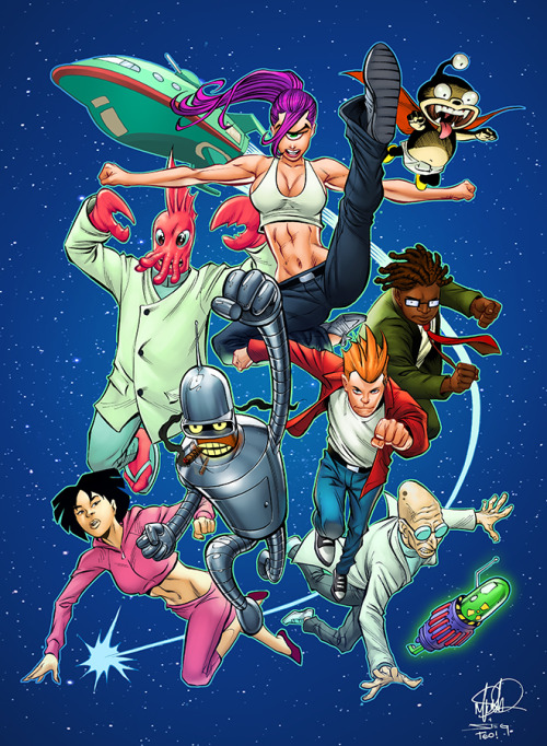 timetravelandrocketpoweredapes:  Futurama Fighters pencils by Mike S. Miller / colors by Teo Gonzalez  (via Teo's tumblr: deffectx)