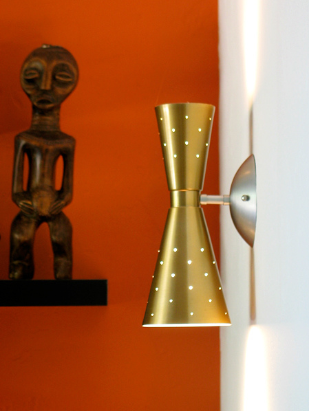 Retro Atomic Double Cone Wall Sconce | Spektr Light | Based on the 1959 Stockholm series manufactured by EJS lighting. Via