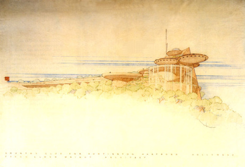 abitlate:  architectural-review:  Frank Lloyd Wright, A Country Club for Huntington Hartford, 1947