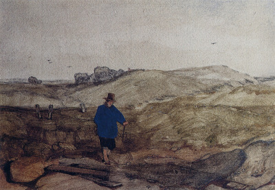 slickwhippet:  John Sell Cotman, An open landscape with a farmer in a blue coat (1830)